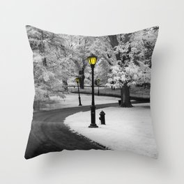 Central Park Lamp Posts in Infrared Throw Pillow