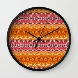 Retro India Lounge Pattern (orange coral) Wall Clock