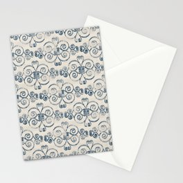 Farmhouse Scoll Diamond Ikat Pattern - Cream Navy Stationery Cards