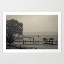 Moody Harbor Art Print