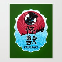 kaiju Canvas Prints featuring Kaiju Sake by zerobriant
