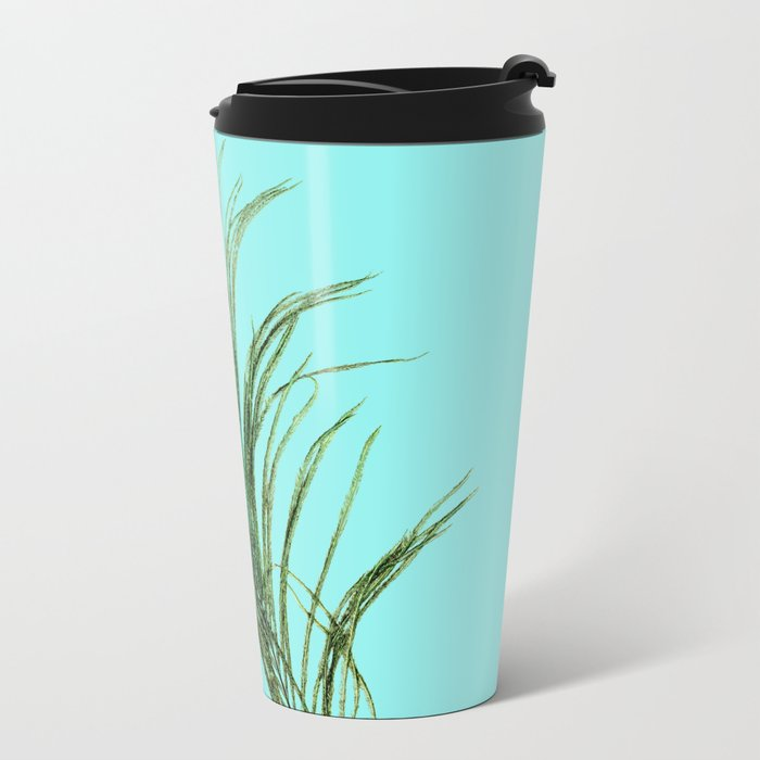 Peacock Feather on Blue Background Metal Travel Mug