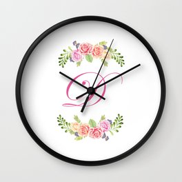 Floral Initial Letter D Wall Clock