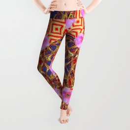 Delicate French Style Red Fuchsia Pink Wild Rose Gold Jewelry Abstract Leggings