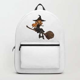 Cute Witch Sits On Her Broom | Halloween Backpack