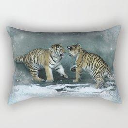Playful Tiger Cubs Rectangular Pillow