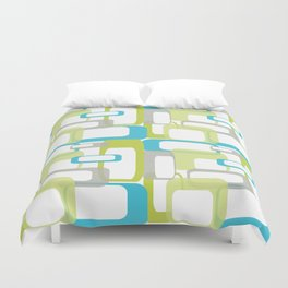 Mid-Century Modern Rectangle Design Blue Green and Gray Duvet Cover