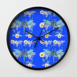 BLUE DRAGONFLIES REPEATING  DAISY FLOWERS  ART Wall Clock