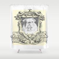 bulldog Shower Curtains featuring Bulldog  by Christopher Pugh