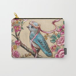 Bluebird and vintage florals Carry-All Pouch