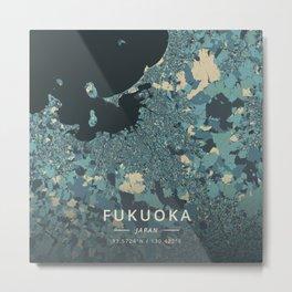 Fukuoka, Japan - Cream Blue Metal Print