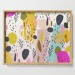 Pink And Yellow Abstract Art Trendy Modern Pattern Serving Tray