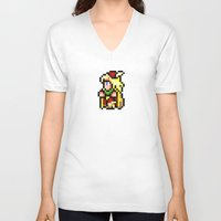 final fantasy V-neck T-shirts featuring Final Fantasy II - Edward by Nerd Stuff