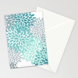 Floral Pattern, Aqua, Teal, Turquoise and Gray Stationery Cards