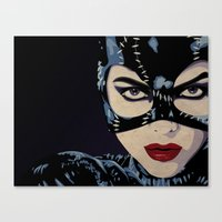 catwoman Canvas Prints featuring Catwoman by Cassidy Dawn