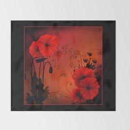Poppy flowers, sunset Throw Blanket