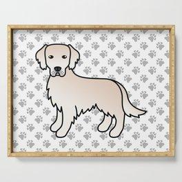 English Cream Golden Retriever Breed Dog Cute Cartoon Illustration Serving Tray