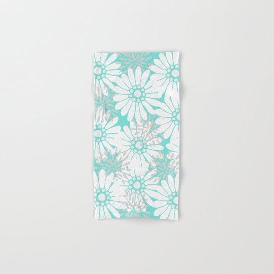 Summer Flowers Turquoise Hand & Bath Towel