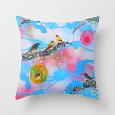 Society Finches Throw Pillow