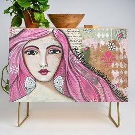 Believe in Your Own Magic Mixed Media Fairy Girl Credenza