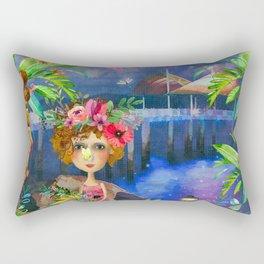 Strand Pier Watercolour Rectangular Pillow