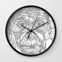 einstein Wall Clocks featuring Einstein  by Jess Moore