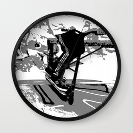 Down the Ramp - Stunt Scooter Rider  Wall Clock