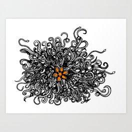 Burst of Swirls Doodle Art Print