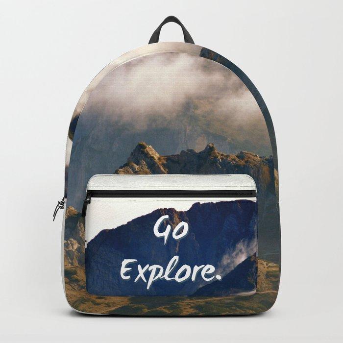 'Go Explore.' Mountains, Adventure, Wanderlust, Typography Backpack