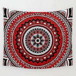 Red and Black Mandala Wall Tapestry
