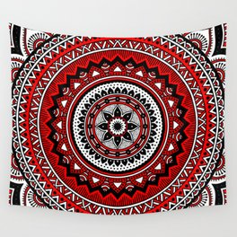 Red and Black Mandala Wall Tapestry