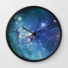 Turquoise Glitter Galaxy Wall Clock