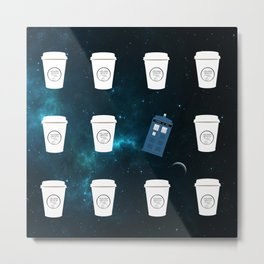 Doctor Who TARDIS and Coffee Metal Print
