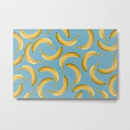 Bananas Pattern - turquoise Metal Print