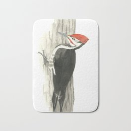 Pileated Woodpecker - Watercolor Bath Mat