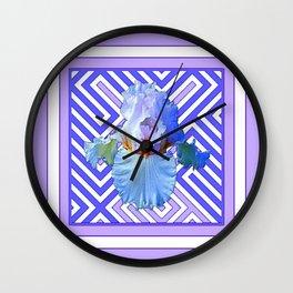 DECO LILAC PURPLE PASTEL IRIS PATTERN Wall Clock