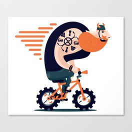 Big biker on a small bike Canvas Print