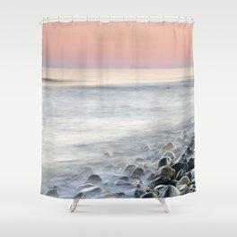"""Bright stones"". Pink sunset Shower Curtain"