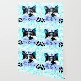 cat my home my rules vector art blue Wallpaper