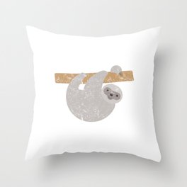 Cute Distressed Sloth Running Team Throw Pillow