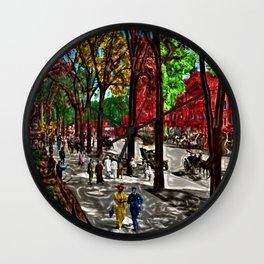 'Saturday on Broadway with George' Landscape by Jeanpaul Ferro Wall Clock