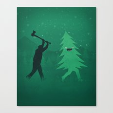 Funny Cartoon Christmas tree is chased by Lumberjack / Run Forrest, Run! Canvas Print