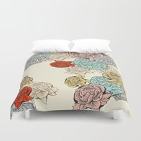 peonies Duvet Covers featuring Peonies by Catalina Villegas