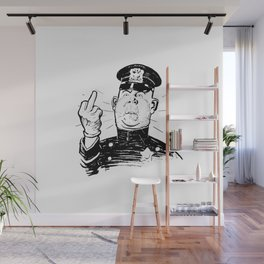 Mad Cop Flipping the Bird Wall Mural