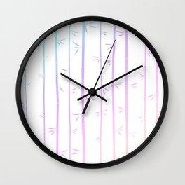 Tropical woody rainbow bamboos Wall Clock