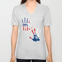 USA Czech Republic Handprint & Flag | Proud Czech American Heritage, Biracial American Roots, Unisex V-Neck
