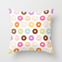 Happy Cute Donuts Pattern Throw Pillow