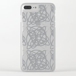 Curvy1Print Grey and White Clear iPhone Case