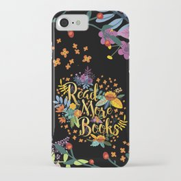 Read More Books - Black Floral Gold iPhone Case