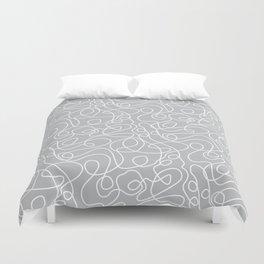 Doodle Line Art   White Lines on Silver Gray Duvet Cover